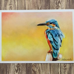 Kingfisher pastel art print